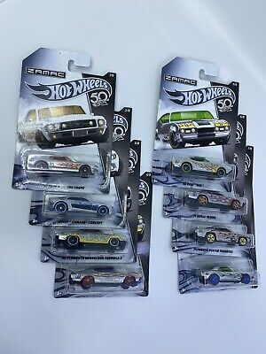 Hot Wheels 2018 50th Anniversary Zamac cars Walmart Complete Set Of 8 Chrome