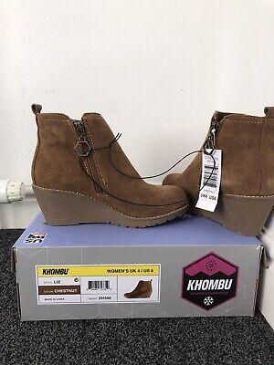 "Khombu ""Liz"" - Memory Foam Suede Leather Wedge Ankle Boots - Chestnut Size UK 4"