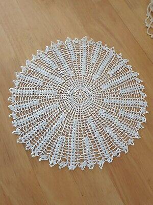 White handmade12' crochet doily, slightly stiffened, cotton, vintage decor