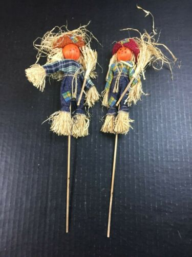 "Vintage Halloween Taiwan Japan Picks SCARECROW PUMPKIN HEADS GIRL & BOY Lot 13"""