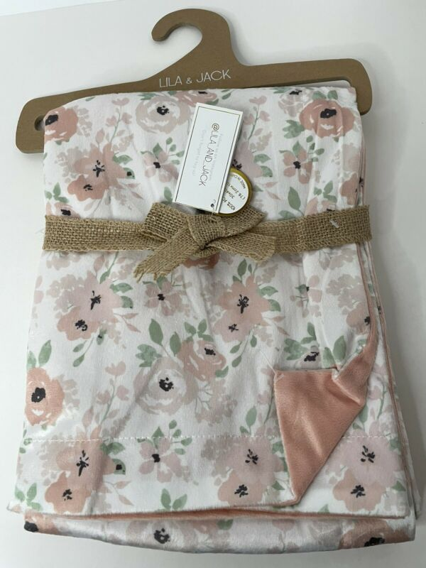 """Lila & Jack New York Reversible Baby Blanket 30"""" x 40"""" NWT Peach Floral"""