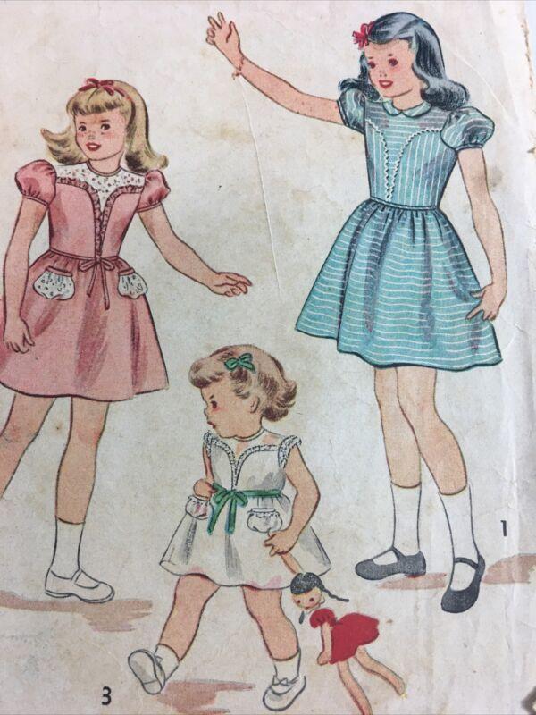 1940s Simplicity 1914 Vintage Sewing Pattern Girls Dress Size Size 6
