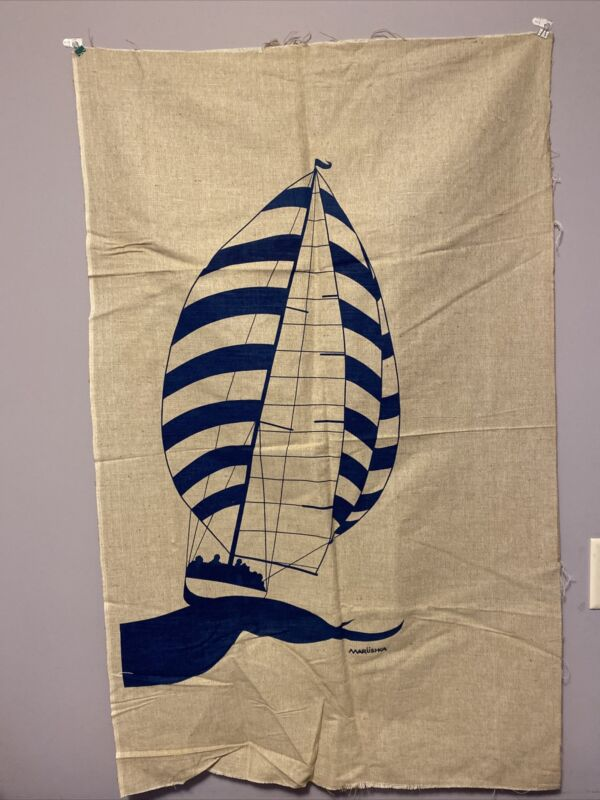 """Vintage Marushka Navy Color Sailcraft Textile Wall Art 29.5""""X 47"""""""