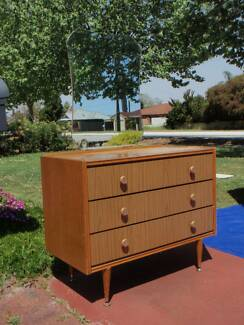 Three Drawer Light Veneer Dressing Table with Mirror Redcliffe Belmont Area Preview