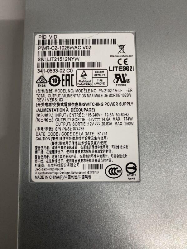Cisco Catalyst 1025WAC Power Supply PWR-C2-1025WAC for 2960XR 2960X 3650