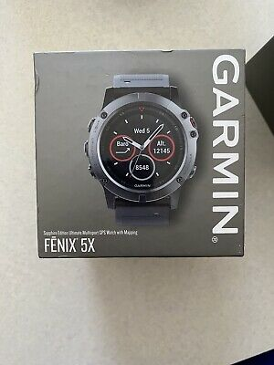 Garmin Fenix 5X Sapphire 51mm Slate Gray with Black Band GPS Watch -...