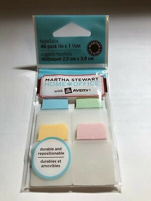 New - Martha Stewart - 40 Pack 1 X 1 12 Note Tabs