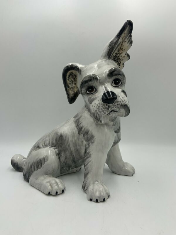 "Vintage Handpainted PORCELAIN Dog SCHNAUZER Figurine ITALY Large 12"" Tall"