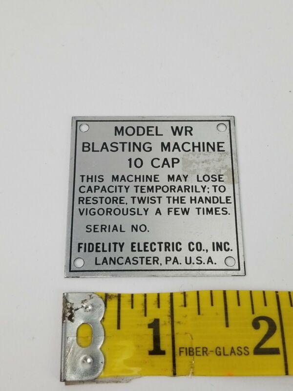 10 Cap Blasting Machine  Model WR Original Plaque