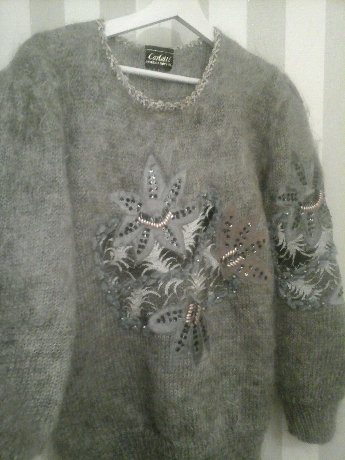 Charmant pull vintage tout mohair dentelles & broderies t44 gris