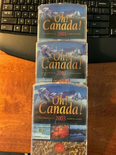 """""""THREE"""" Oh! Canada! Uncirculated Canandian Mint Coin Sets 2001-2002-2003"""
