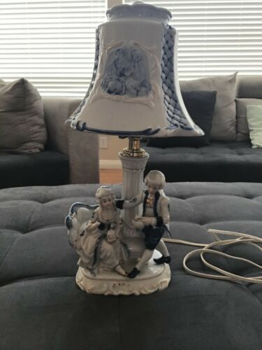 "Vintage Victorian Colonial Couple Porcelain Lamp Blue White 16"" Tall"