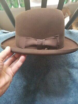 1950s Mens Hats | 50s Vintage Men's Hats 1950s Stetson Royal De Luxe St. Regis Fedora Hat Dark Brown with Original Box $129.99 AT vintagedancer.com