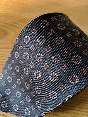 Polo Ralph Lauren Black Ancient Madder Silk Necktie Red Blue Geo Neat Print Tie