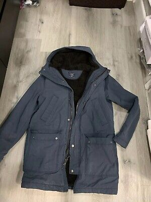 Abercrombie & Fitch Sherpa-Lined Parka Navy sweater coat jacket M