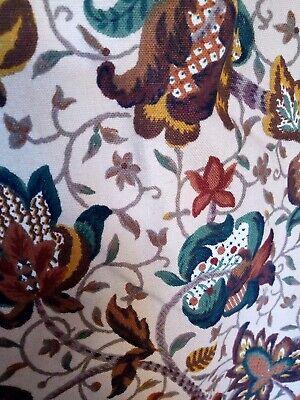 """Vintage Sanderson Jacobean floral curtain fabric 41"""" X 44"""" drop"""