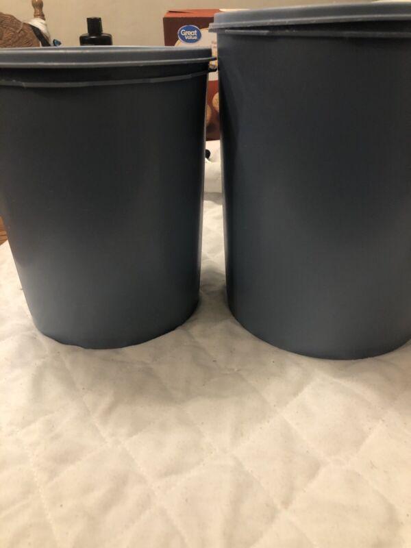 Vintage Tupperware Light Blue Nesting Canister Set Of 2 With Lids 2 Larger Ones