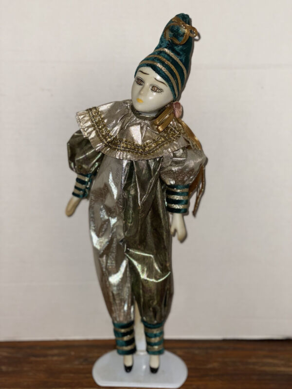 Porcelain Jester Clown Musical Doll With Stand
