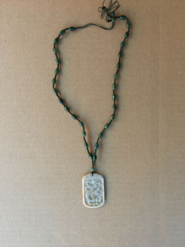 HAND CARVED AGATE & NEPHRITE DRAGON NECKLACE
