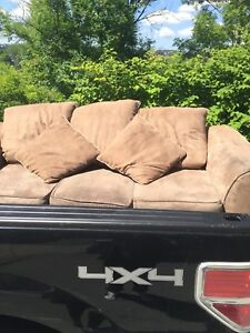 Brown Suede 3 person Couch FREE DELIVERY