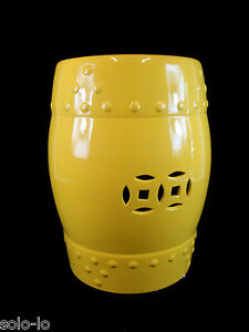 New Ceramic barrel stool,chair, side stand, table with Asian coin symbol YELLOW