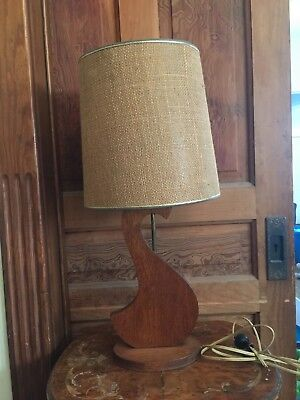 Vintage Berger Mid Century Modern Wood and Brass Table Lamp