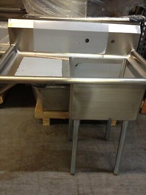 Stainless Steel 1 Compartment Sink With Right Or Left Drain Board