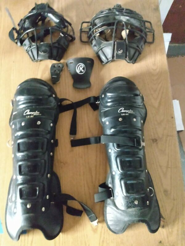 Baseball umpire gear: All except chest; shin, masks, bags, brush, clicker. Used.