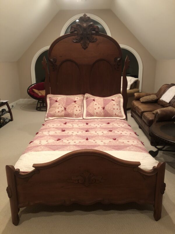 Victorian Walnut Marble Antique Bed Set