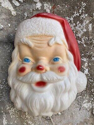 Vintage 1960s Empire Hanging Santa Head Face Blow Mold Christmas Decoration