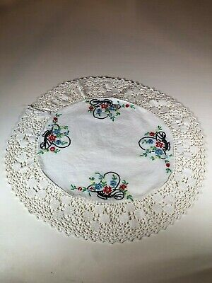 Round Tables With Runners (Vintage Hand Embroidered Round Table Linen, Flowers in Basket with Lace)
