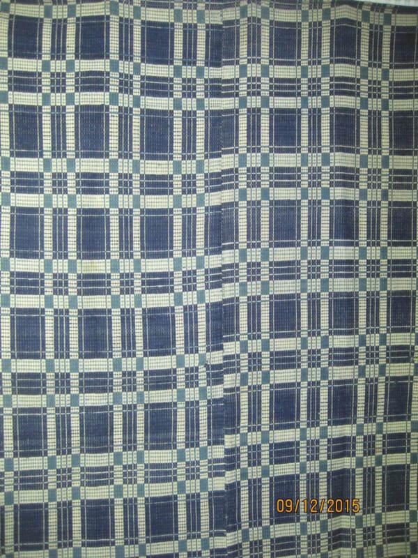 Atq Hand Woven Homespun Bedspread Coverlet indigo & lt blue & Cream reversible