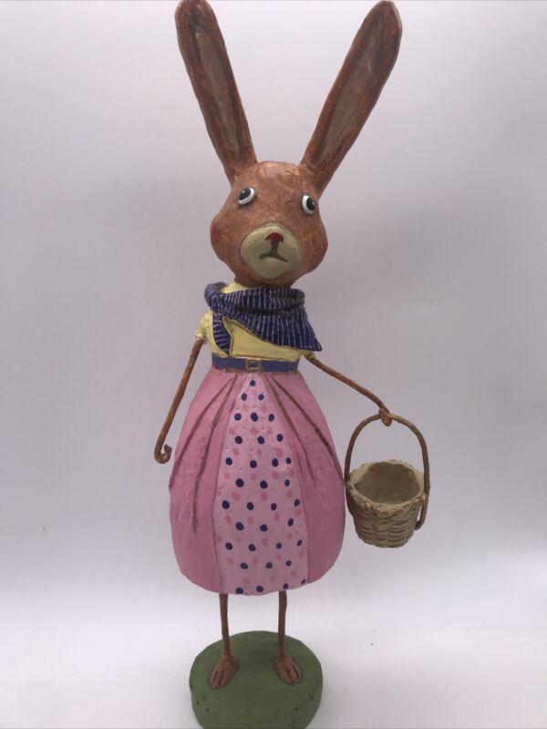 "Lori Mitchell 12298 Phoebe Hare Flaw Figurine 10"" Easter folk art"