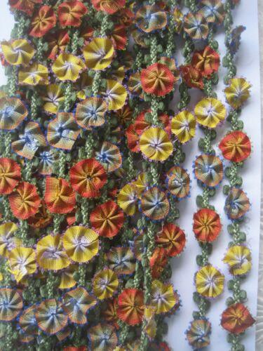 VINTAGE STYLE ORANGE AND YELLOW FLOWER RIBBON TRIM   1 YARD