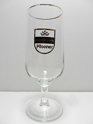 Neufang Pilsener Stemmed Gold Rim German Beer Glass Saarbrücken Germany Brewery