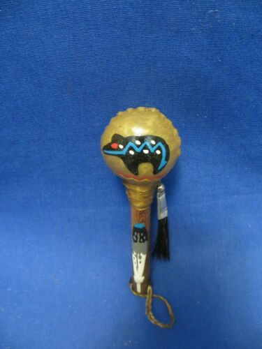 Native American Hand Painted Rawhide Rattle Shaker Buffalo Blue Feather Handle