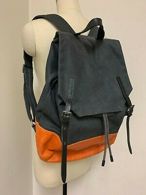400$ Ally Capellino Canvas Backpack Tate Gallery ORANGE Leather Cotton GREY