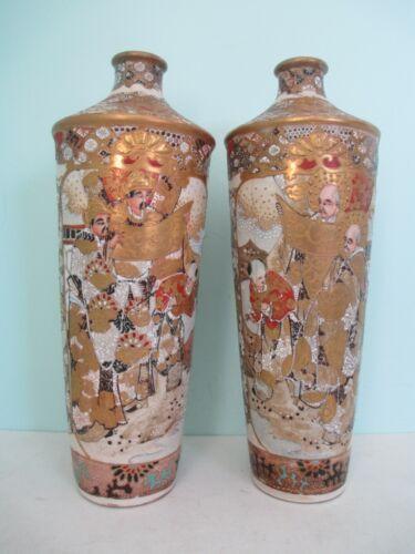 """Rare Antique Meiji Period Satsuma Japanese Pair Vases 12 1/4"""" Tall (1867-1912)"""