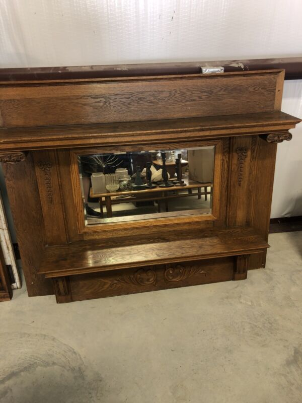 Antique American Oak Overmantel With Beveled Mirror & Carved Features 1900-1920