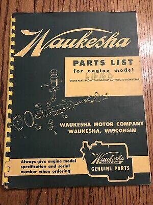 Waukesha Parts List For Engine Model L 1616 D