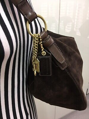 Brand New Oversized Coach Handbag Shoulder Bag In Brown Suede W Tags And Dustbag
