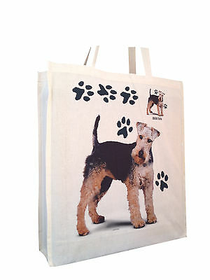 Welsh Terrier Cotton Shopping Bag Tote with Gusset for Xtra Space Perfect Gift