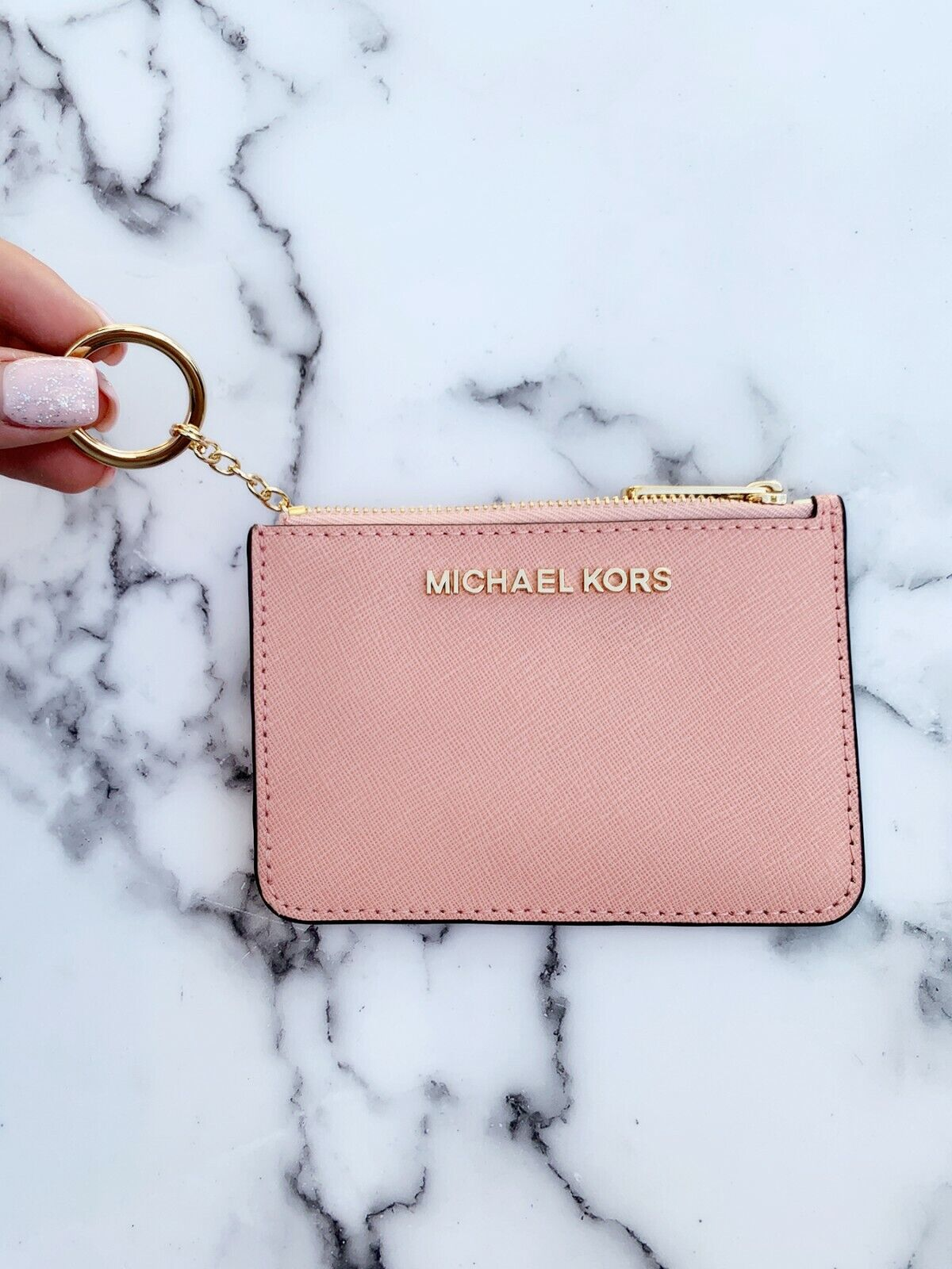 Michael Kors Jet Set Travel Small Top Zip Coin Pouch ID Holder Key Ring Wallet Pale Pink
