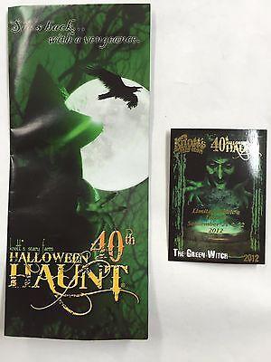 KNOTTS BERRY SCARY FARM HALLOWEEN HAUNT GREEN WITCH CARD + BROCHURE 40th - Halloween Haunt Green Witch