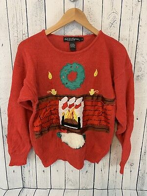 Work in Progress Ugly Christmas Holiday Sweater Dog by Fireplace Size Small](Fireplace Sweater)