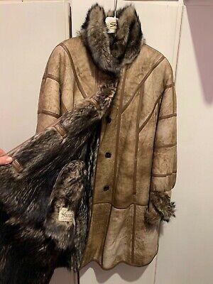 cappotto in montone vintage anni 80 interno in pelo lungo.