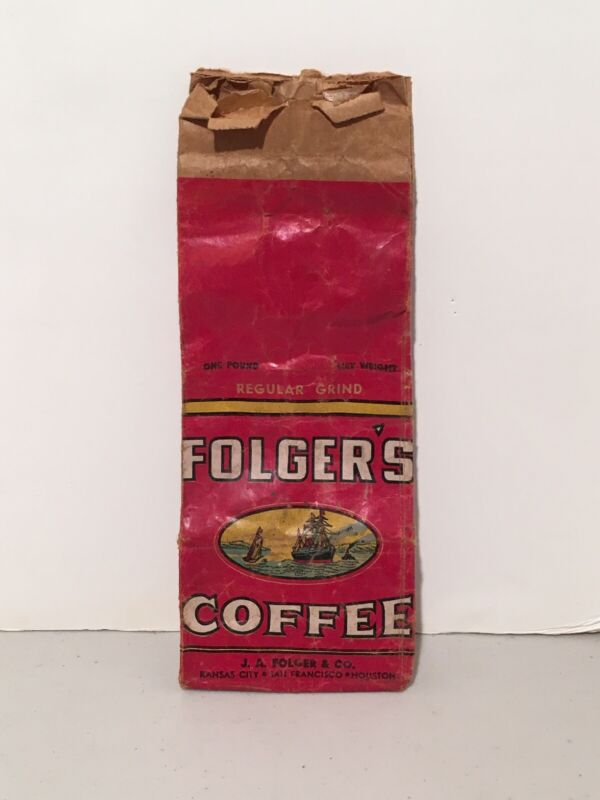 Vintage Folgers Coffee ~ One Pound Bag