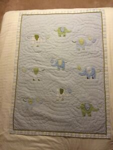 Pottery Barn Eli Elephant crib quilt and pictures