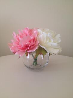 Fish bowl Vase with Peonies (2x Pink 1x White) City North Canberra Preview