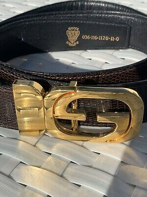 Vintage GUCCI Italy Men's sz 36 Classic GG Gold Hardware Skin Leather Belt Brown